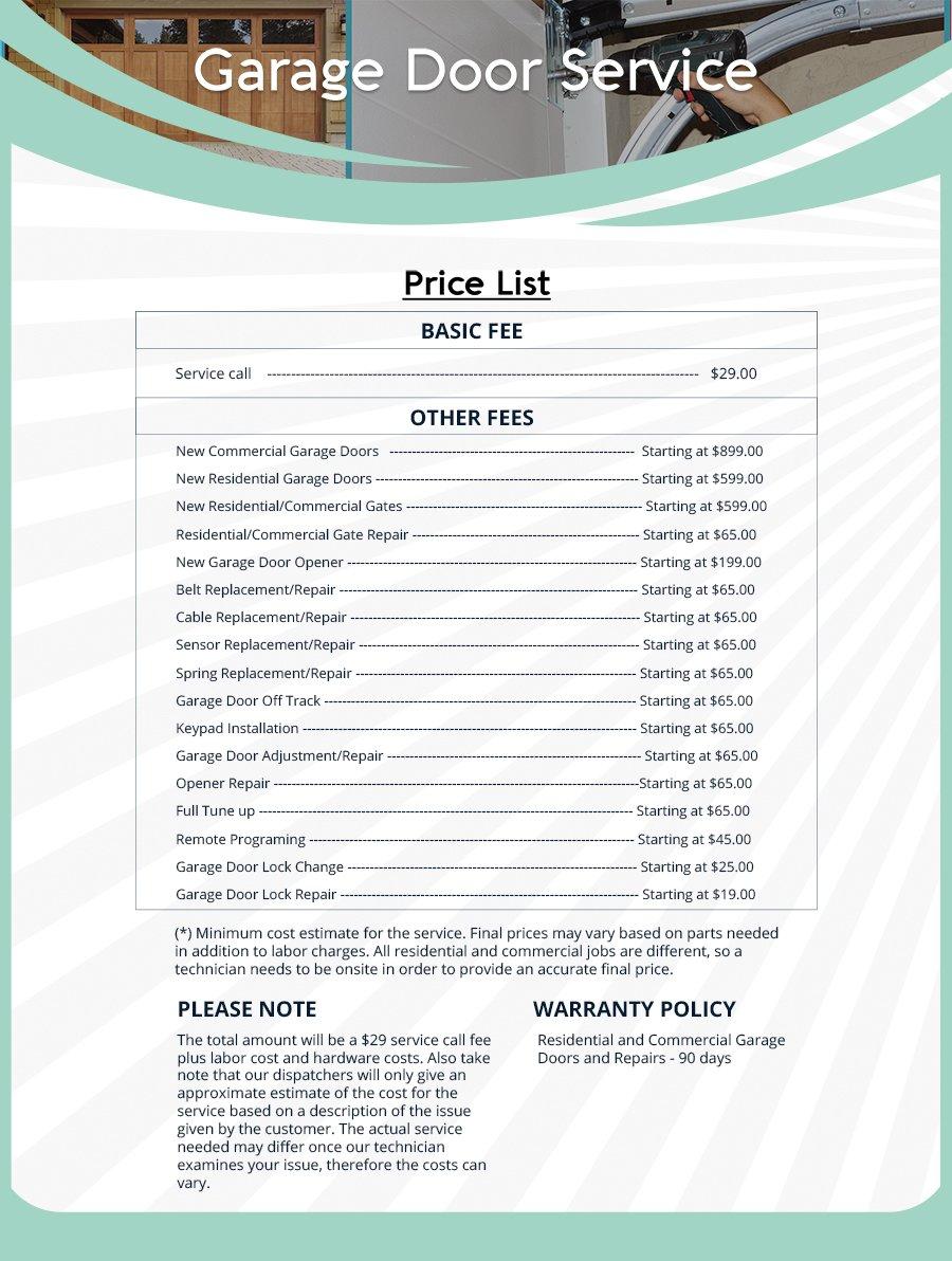 American Garage Door Price List